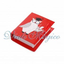 Bomboniere Laurea Libro Rosso Linea Gufetto Laureato
