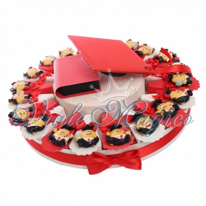 Composizione Torta 20 Pezzi Magnete Laureato Confettata Festa Sacchetto Confetti