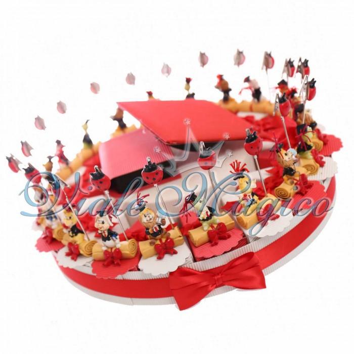 Composizione Torta 20 Pezzi Porta Messaggi Laurea Confetti Offerta Fiocco