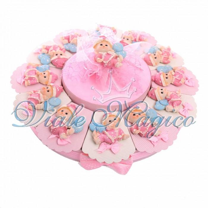 Torta Bomboniera 12 pezzi Magnete Neonata Pigiama Tutina Confetti Fiocco