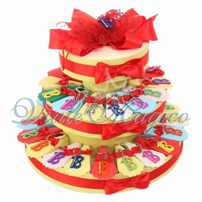 Torta Porta Confetti 35 pezzi Portachiavi Strass Compleanno 18 Anni Confettata