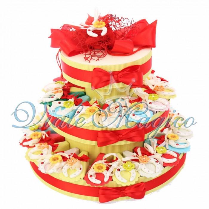 Torta Porta Confetti 35 pezzi Appendino Porta fortuna Compleanno 18 Anni