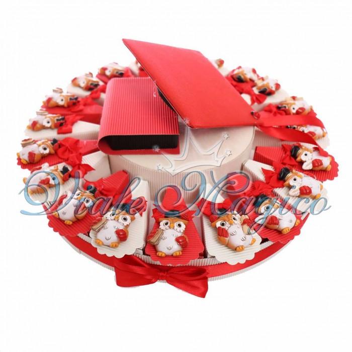 Composizione Torta 20 Pezzi Magnete Gufo Libro Laurea Confettata Sacchetto