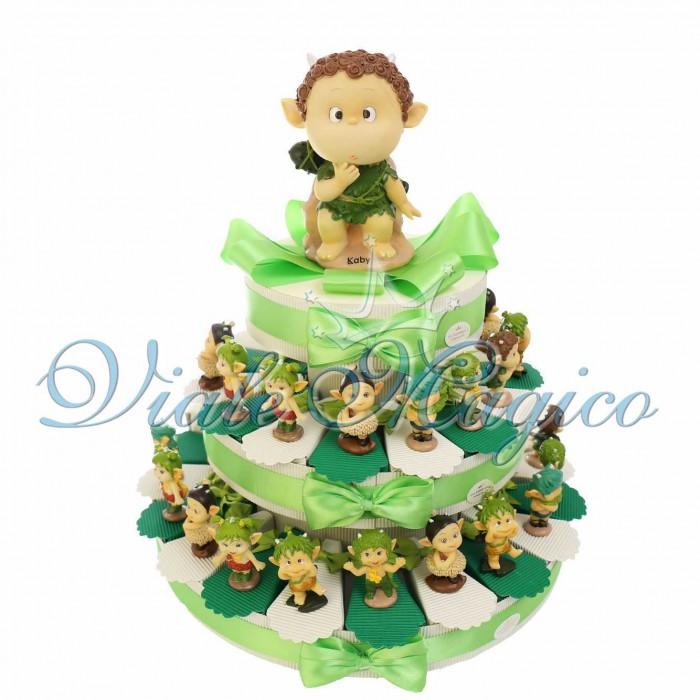 Torta Porta Confetti Statuine Elfi Bosco Compleanno Bimbo Confettata Bouffet