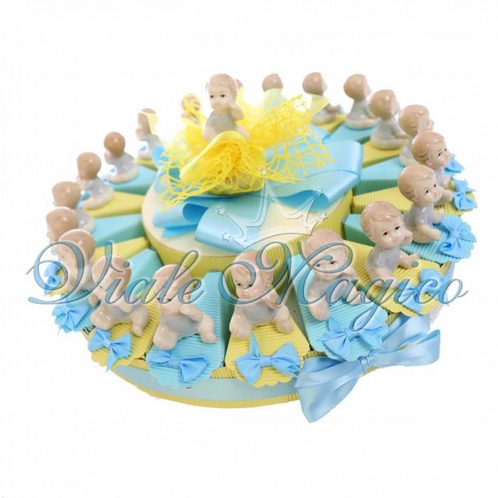 Torta Porta Confetti Statuina Bimbo Porcellana Confetti Battesimo Evento Sacro