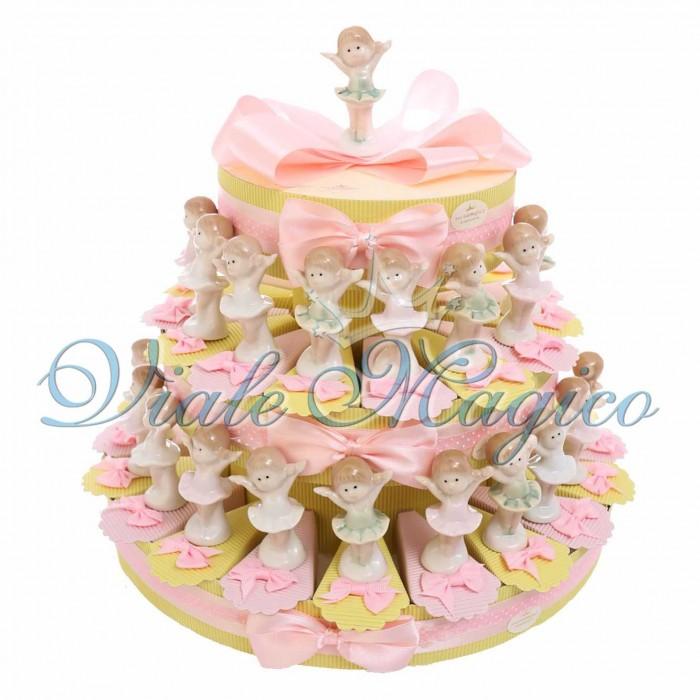 Cesto Torta Portaconfetti Statuina Ballerina Porcellana Comunione Battesimo Bambina