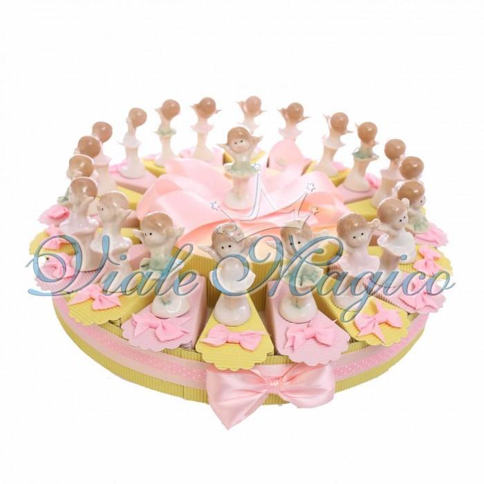 Cesto Torta Portaconfetti Statuina Ballerina Porcellana Battesimo Comunione Bimba