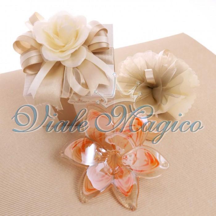 Bomboniera Fiore Stelo Vetro di Murano Confezione Matrimonio Confettata Regalo