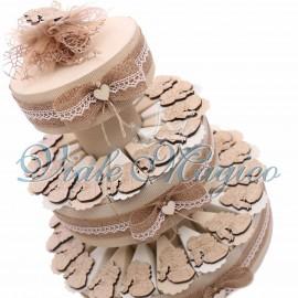 Torta Shabby Magnete Sposini Legno