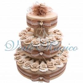 Torta Portaconfetti con Appendino Rosa Beige