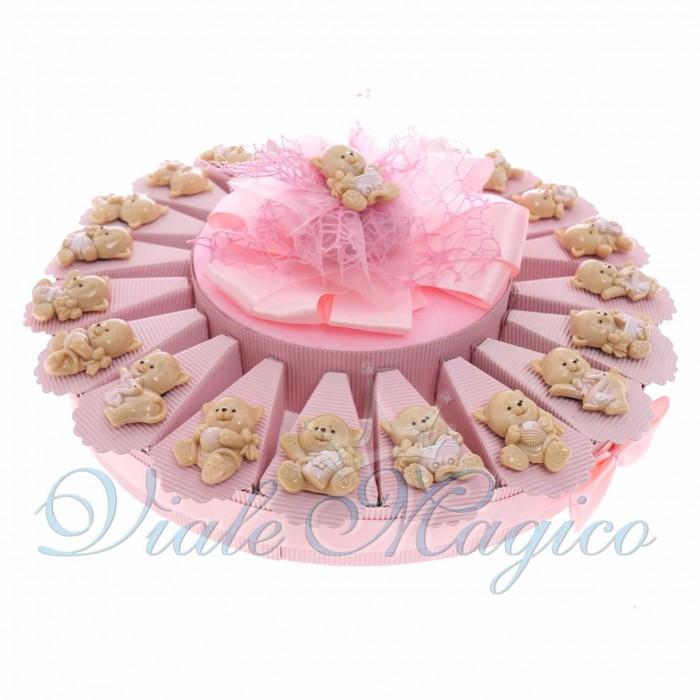Bomboniere Nascita Battesimo Primo Compleaanno Torta Confetti con Magnete Gattina Bimba in Offertissima