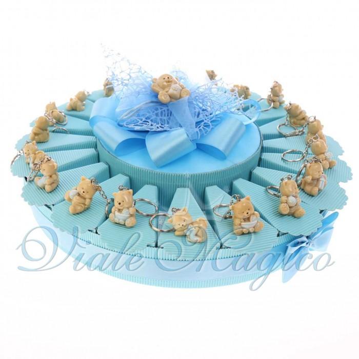 Bomboniere Nascita Battesimo Primo Compleanno Torta Confetti con Portachiavi Gattino Bimbo in Offertissima