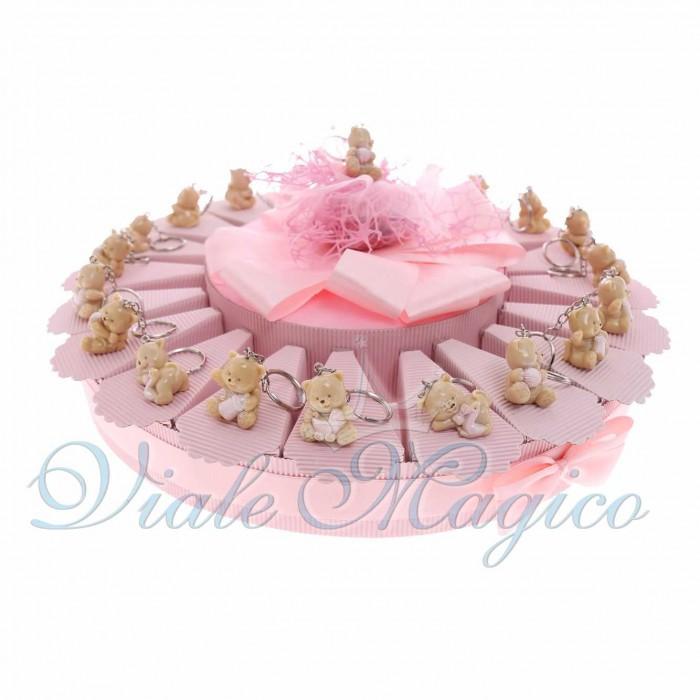 Bomboniere Nascita Battesimo Primo Compleanno Torta Confetti con Portachiavi Gattina Bimba in Offertissima