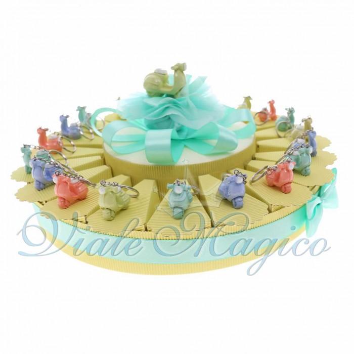 Bomboniere Compleanno Offerta Torta Confetti con Portachiave Vespe Pastello in Offertissima
