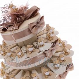 Bomboniere Prima Comunione in Offerta Torta Confetti con Portachiavi Orsetti Innamorati in Offertissima