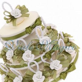 Bomboniere Matrimonio Promessa Torta 20 pz Appendini Saponi Profumati con Elegante Rosa