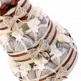 Torta Merletto con 25 Sacchetti Flower Marrone