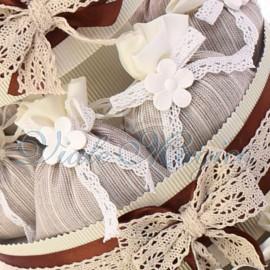 Bomboniere Promessa Matrimonio Torta Merletto con 25 Sacchetti Flower Marrone