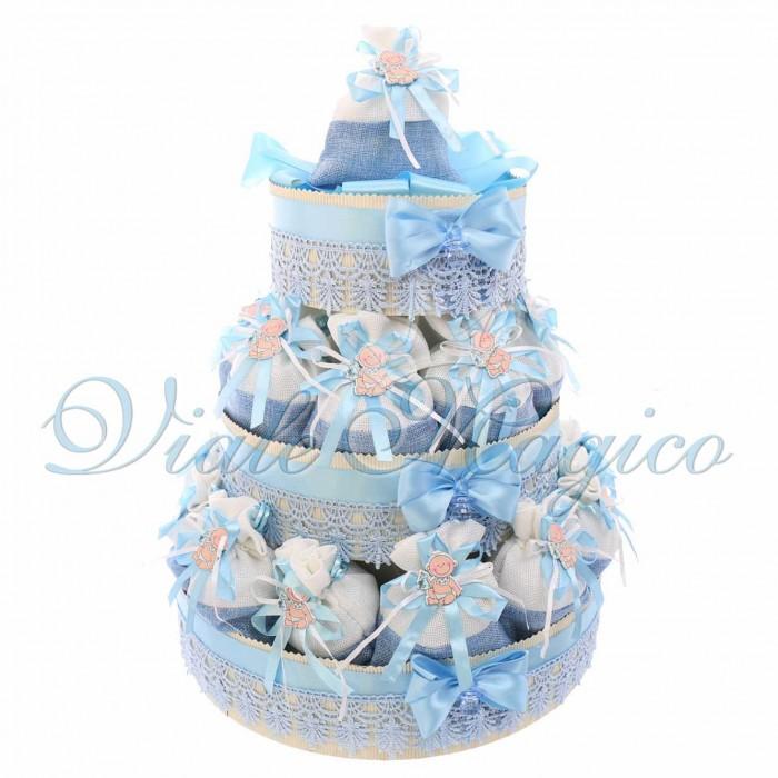 Bomboniere Nascita Battesimo Bimbo Torta con 20 Sacchetti Baby Celeste