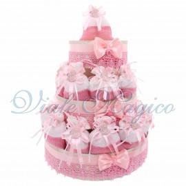 Torta con 25 Sacchetti Baby Rosa