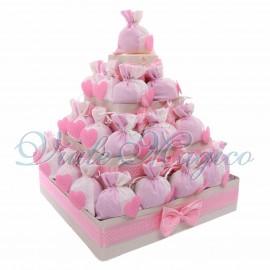 Bomboniere Nascita Battesimo Alzatina Torta con 32 Sacchetti Cuore Pois Bimba