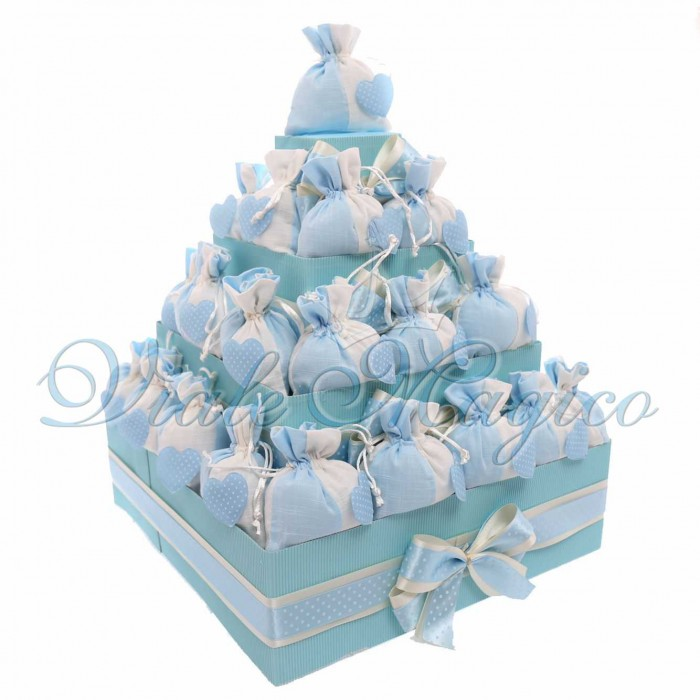 Bomboniere Nascita Battesimo Offerte Alzatina Torta con 32 Sacchetti Cuore Pois Bimbo