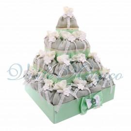 Bomboniere Matrimonio Promessa Torta Quadrata con 32 Sacchetti Flower Verde