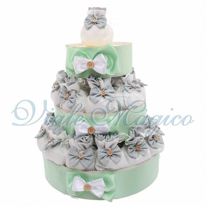 Bomboniere Matrimonio Promessa Prima Comunione Torta con 25 Sacchetti Verde Fiocco e Bottoncino