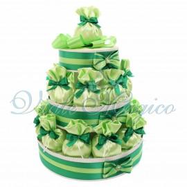 Torta 25 Sacchetti in raso Verde mela