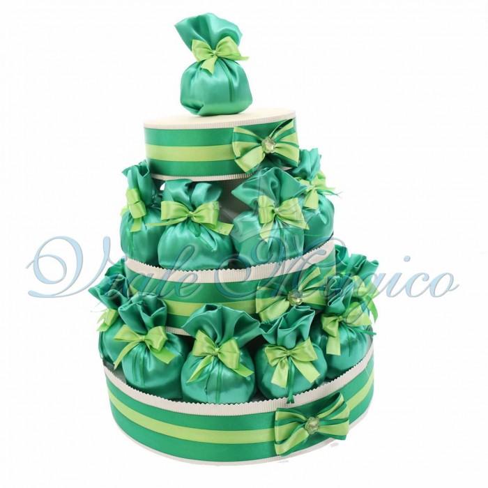 Bomboniere Matrimonio Promessa Sposi Torta 25 Sacchetti in raso Verde smeraldo
