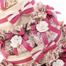 Bomboniere Online Matrimonio Promessa Torta 25 Sacchetti Floreali e Fiore in Porcellana