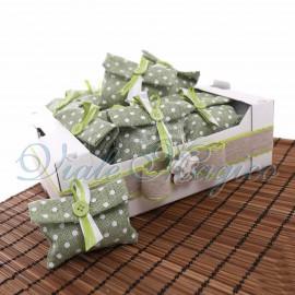 Bomboniere Promessa di Matrimonio Sacchetti Portaconfetti Cassetta con 25 Pochette Pois Verde