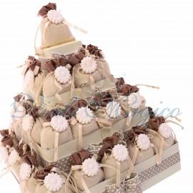 Torta Quadrata con 32 Sacchetti Bicolore Marrone
