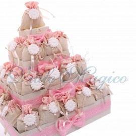 Bomboniere Nascita Battesimo Bimba Torta con 32 Sacchetti Bicolore Rosa