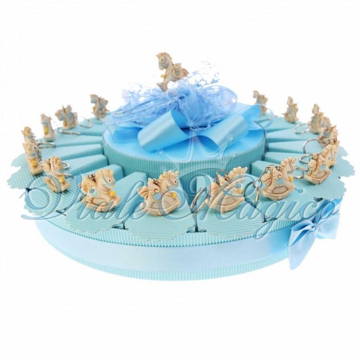 Bomboniere Nascita Battesimo Torta Confetti con Portachiave Unicorno Star Bimbo