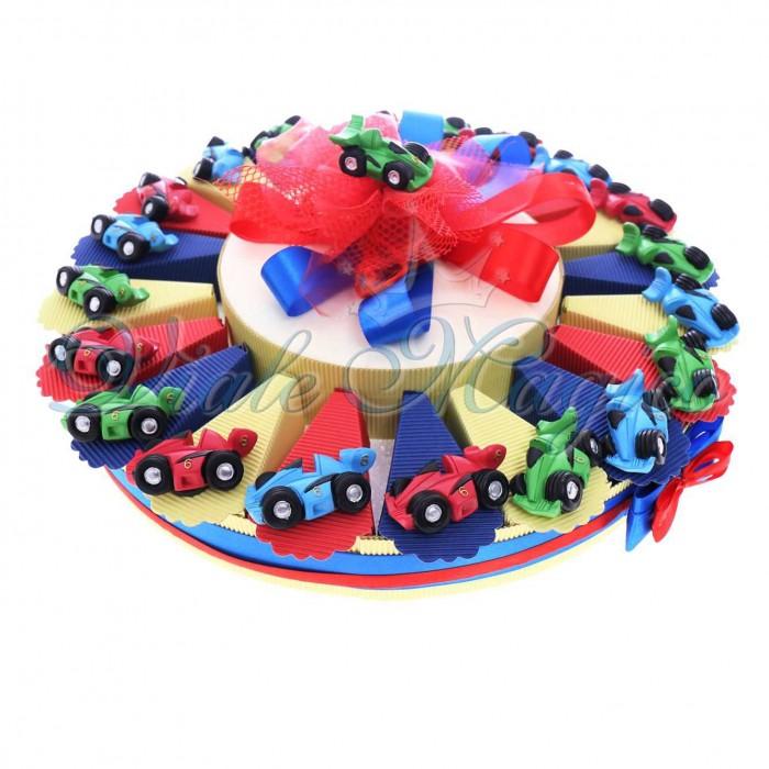 Bomboniere Economiche Compleanno Comunione Battesimo Bimbo Torta Confetti con Magnete Ferrari Color